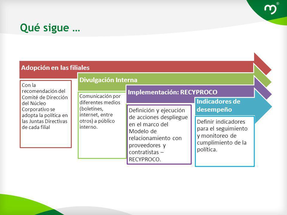Adopción en las filialesDivulgación Interna Comunicación por diferentes medios (boletines, internet, entre otros) a público interno.