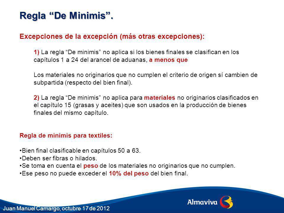 Regla De Minimis. Excepciones de la excepción (más otras excepciones): 1) La regla De minimis no aplica si los bienes finales se clasifican en los cap