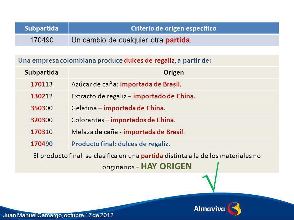 Una empresa colombiana produce dulces de regaliz, a partir de: SubpartidaOrigen 170113Azúcar de caña: importada de Brasil. 130212Extracto de regaliz –