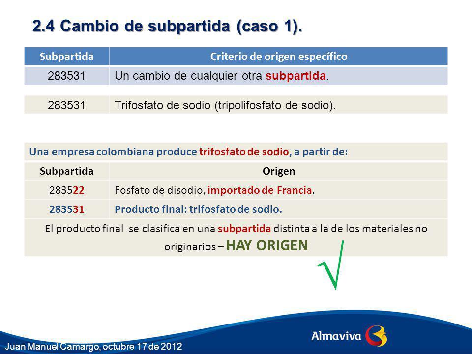 2.4 Cambio de subpartida (caso 1). SubpartidaCriterio de origen específico 283531Un cambio de cualquier otra subpartida. 283531Trifosfato de sodio (tr