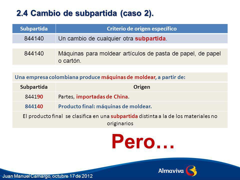 2.4 Cambio de subpartida (caso 2). SubpartidaCriterio de origen específico 844140Un cambio de cualquier otra subpartida. 844140Máquinas para moldear a