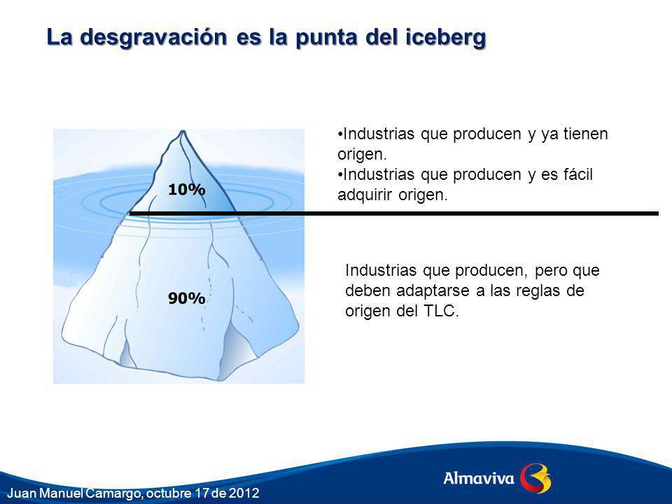 La desgravación es la punta del iceberg Industrias que producen y ya tienen origen. Industrias que producen y es fácil adquirir origen. Industrias que