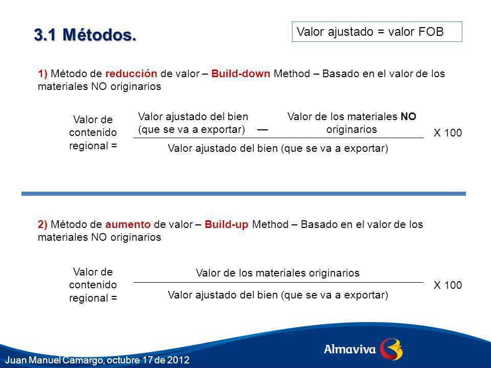 3.1 Métodos. 1) Método de reducción de valor – Build-down Method – Basado en el valor de los materiales NO originarios 2) Método de aumento de valor –