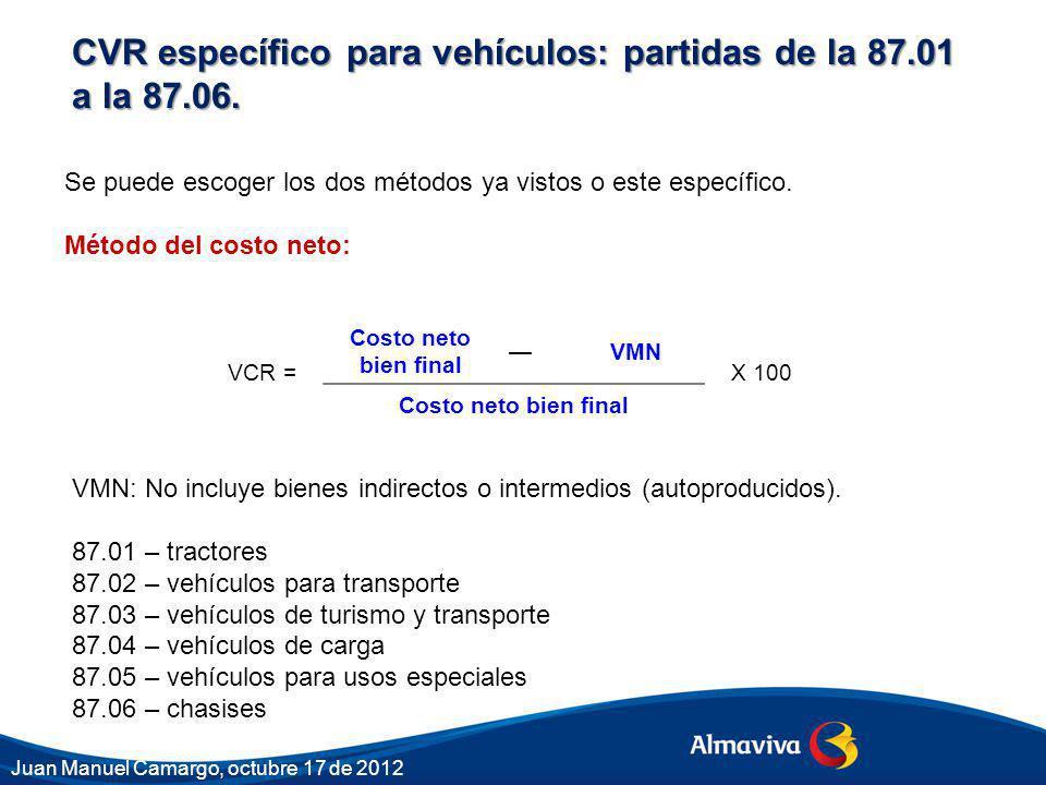 VCR = Costo neto bien final VMN X 100 Costo neto bien final Se puede escoger los dos métodos ya vistos o este específico. Método del costo neto: CVR e