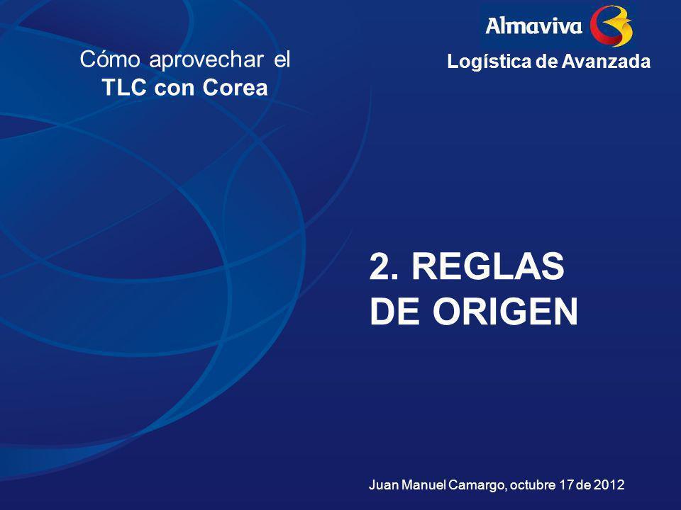 2. REGLAS DE ORIGEN Cómo aprovechar el TLC con Corea Logística de Avanzada