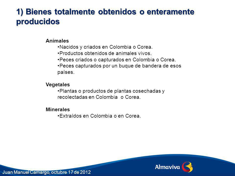 1) Bienes totalmente obtenidos o enteramente producidos Animales Nacidos y criados en Colombia o Corea.