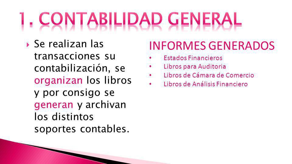 Se realizan las transacciones su contabilización, se organizan los libros y por consigo se generan y archivan los distintos soportes contables.