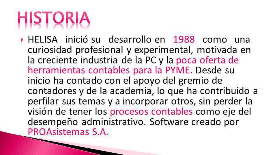 HELISA inició su desarrollo en 1988 como una curiosidad profesional y experimental, motivada en la creciente industria de la PC y la poca oferta de herramientas contables para la PYME.