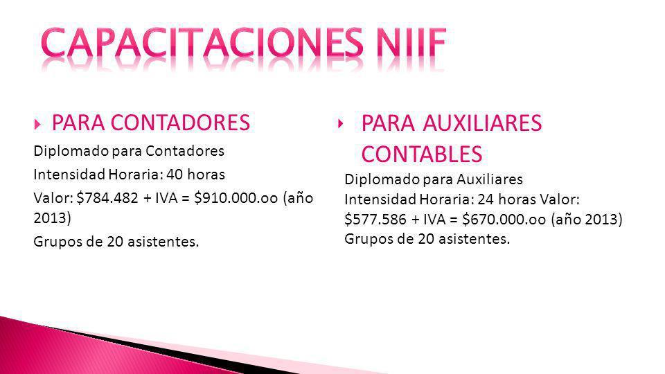 PARA CONTADORES Diplomado para Contadores Intensidad Horaria: 40 horas Valor: $784.482 + IVA = $910.000.oo (año 2013) Grupos de 20 asistentes.