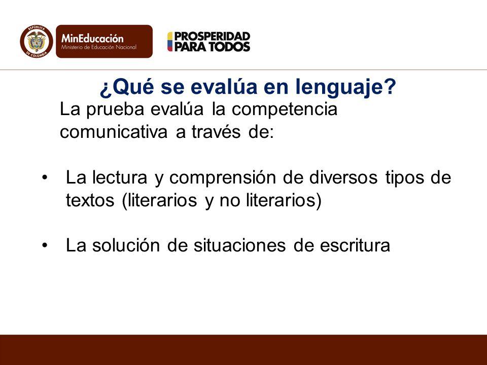 La prueba evalúa la competencia comunicativa a través de: La lectura y comprensión de diversos tipos de textos (literarios y no literarios) La solució