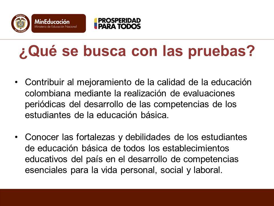 ¿Qué se busca con las pruebas? Contribuir al mejoramiento de la calidad de la educación colombiana mediante la realización de evaluaciones periódicas