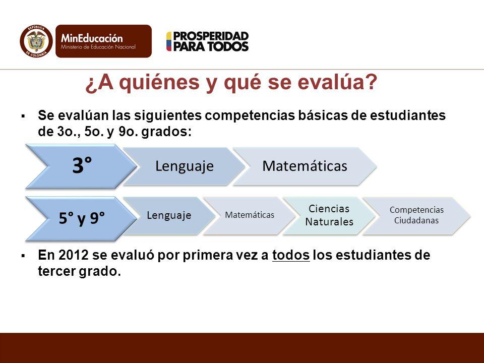 Se evalúan las siguientes competencias básicas de estudiantes de 3o., 5o. y 9o. grados: En 2012 se evaluó por primera vez a todos los estudiantes de t