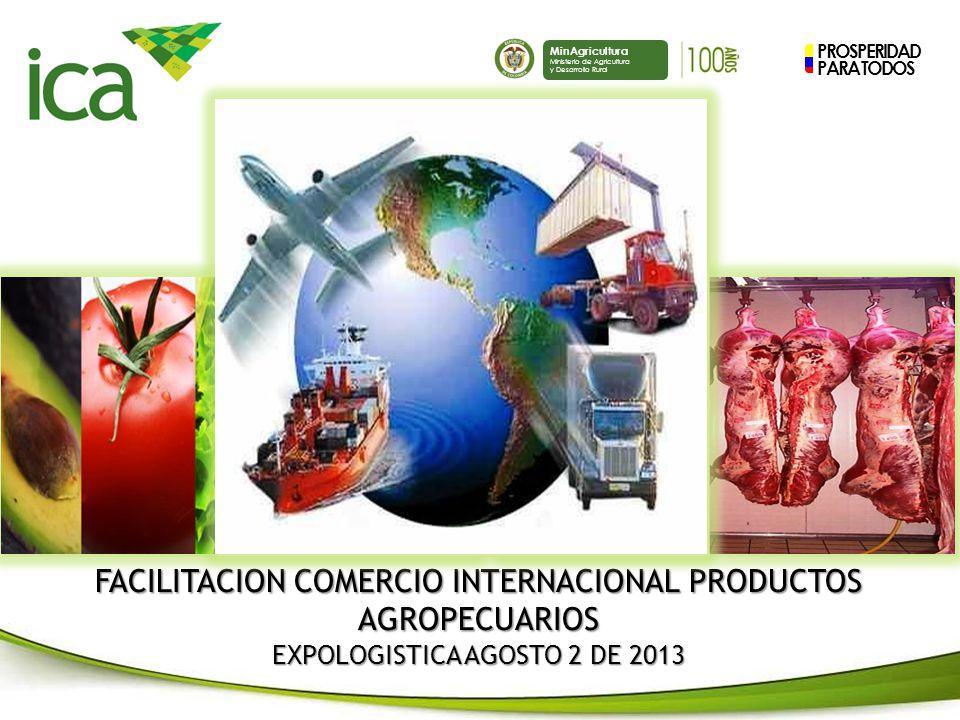 PROSPERIDAD PARA TODOS MinAgricultura Ministerio de Agricultura y Desarrollo Rural FACILITACION COMERCIO INTERNACIONAL PRODUCTOS AGROPECUARIOS EXPOLOGISTICA AGOSTO 2 DE 2013