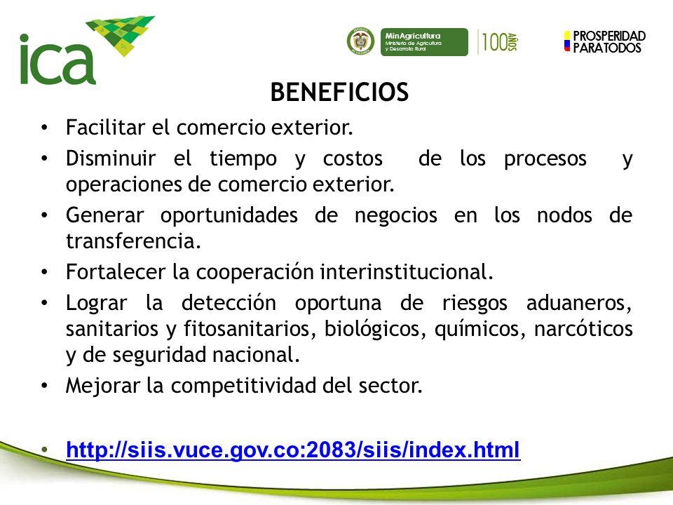 PROSPERIDAD PARA TODOS MinAgricultura Ministerio de Agricultura y Desarrollo Rural Facilitar el comercio exterior.