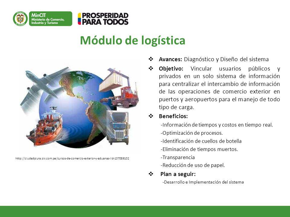 Módulo de logística Avances: Diagnóstico y Diseño del sistema Objetivo: Vincular usuarios públicos y privados en un solo sistema de información para c