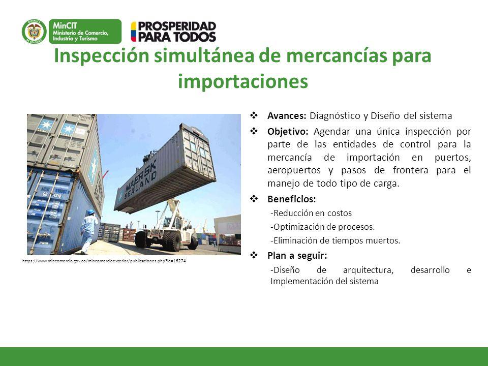 Inspección simultánea de mercancías para importaciones Avances: Diagnóstico y Diseño del sistema Objetivo: Agendar una única inspección por parte de l