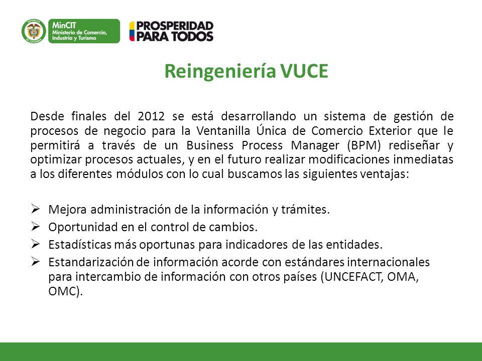 Reingeniería VUCE Desde finales del 2012 se está desarrollando un sistema de gestión de procesos de negocio para la Ventanilla Única de Comercio Exter
