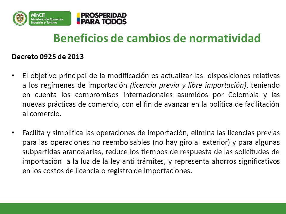 Decreto 0925 de 2013 El objetivo principal de la modificación es actualizar las disposiciones relativas a los regímenes de importación (licencia previ