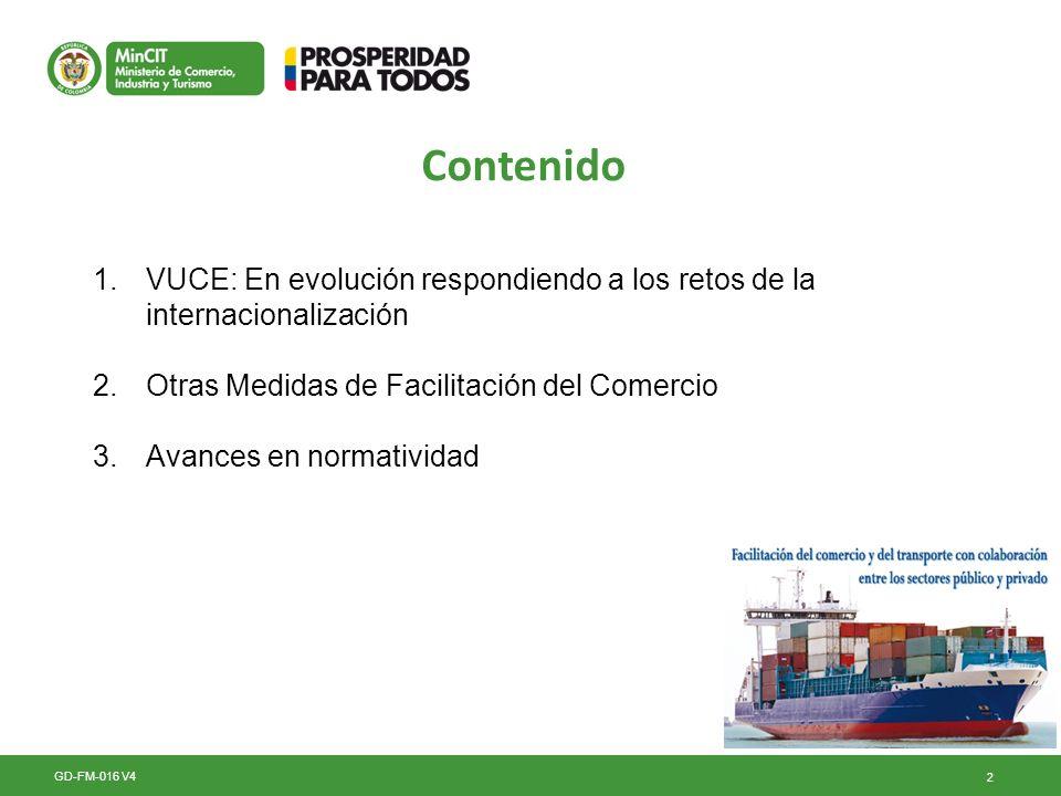 2 Contenido GD-FM-016 V4 1.VUCE: En evolución respondiendo a los retos de la internacionalización 2.Otras Medidas de Facilitación del Comercio 3.Avanc