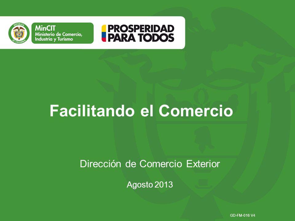 Facilitando el Comercio Dirección de Comercio Exterior Agosto 2013 GD-FM-016 V4
