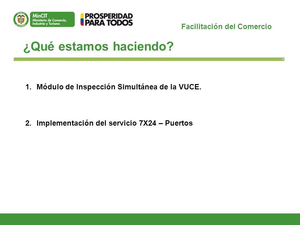 Facilitación del Comercio ¿Qué estamos haciendo? O 1.Módulo de Inspección Simultánea de la VUCE. 2.Implementación del servicio 7X24 – Puertos