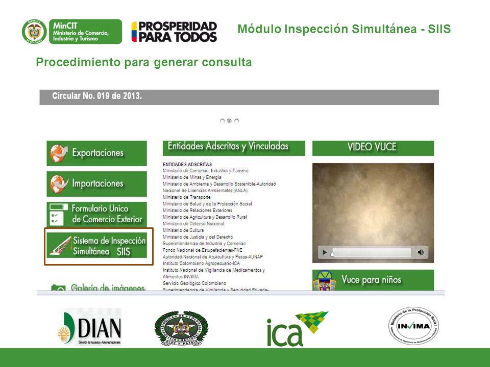 Procedimiento para generar consulta Módulo Inspección Simultánea - SIIS