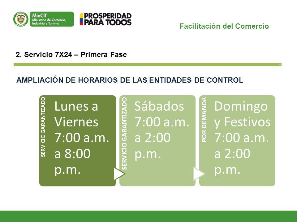 Facilitación del Comercio O 2. Servicio 7X24 – Primera Fase SERVICIO GARANTIZADO Lunes a Viernes 7:00 a.m. a 8:00 p.m. SERVICIO GARANTIZADO Sábados 7:
