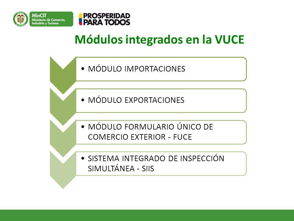 Módulos integrados en la VUCE MÓDULO IMPORTACIONESMÓDULO EXPORTACIONES MÓDULO FORMULARIO ÚNICO DE COMERCIO EXTERIOR - FUCE SISTEMA INTEGRADO DE INSPEC