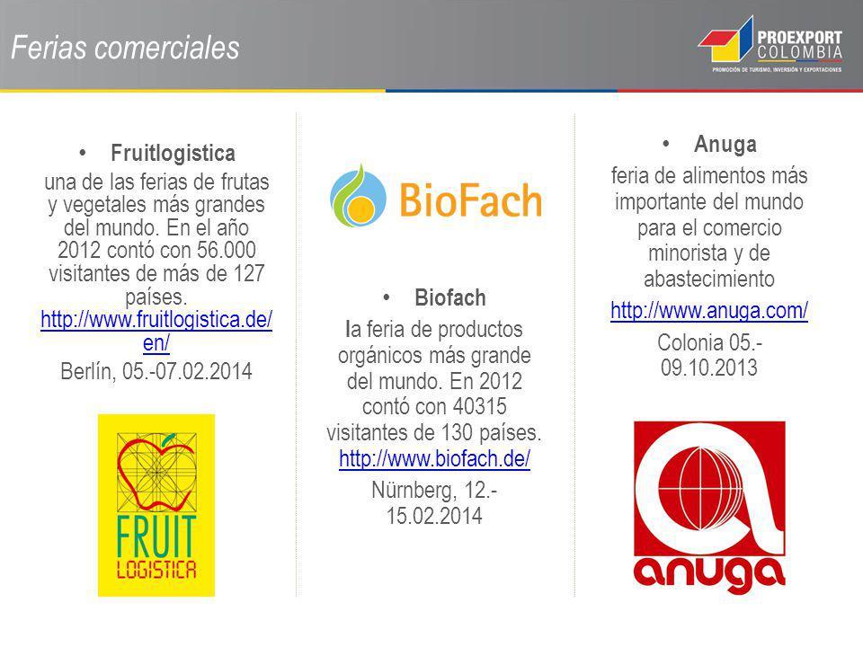 Ferias comerciales Anuga feria de alimentos más importante del mundo para el comercio minorista y de abastecimiento http://www.anuga.com/ Colonia 05.-