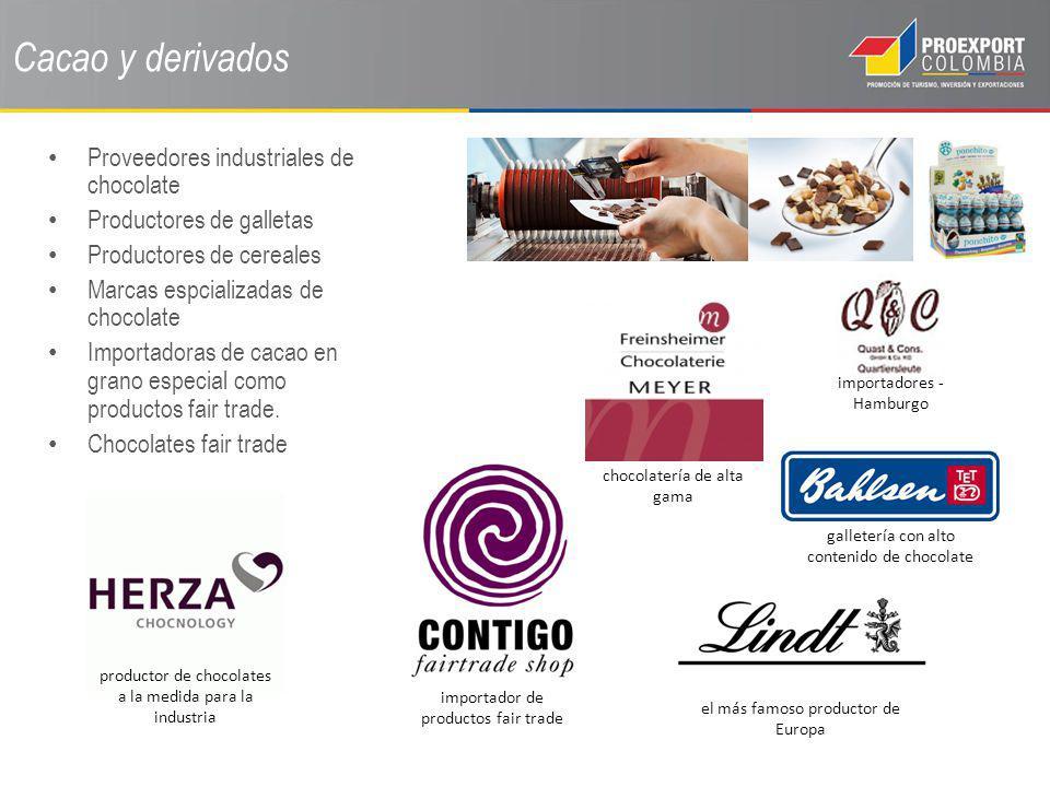 Cacao y derivados Proveedores industriales de chocolate Productores de galletas Productores de cereales Marcas espcializadas de chocolate Importadoras