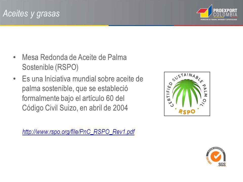 Aceites y grasas Mesa Redonda de Aceite de Palma Sostenible (RSPO) Es una Iniciativa mundial sobre aceite de palma sostenible, que se estableció forma