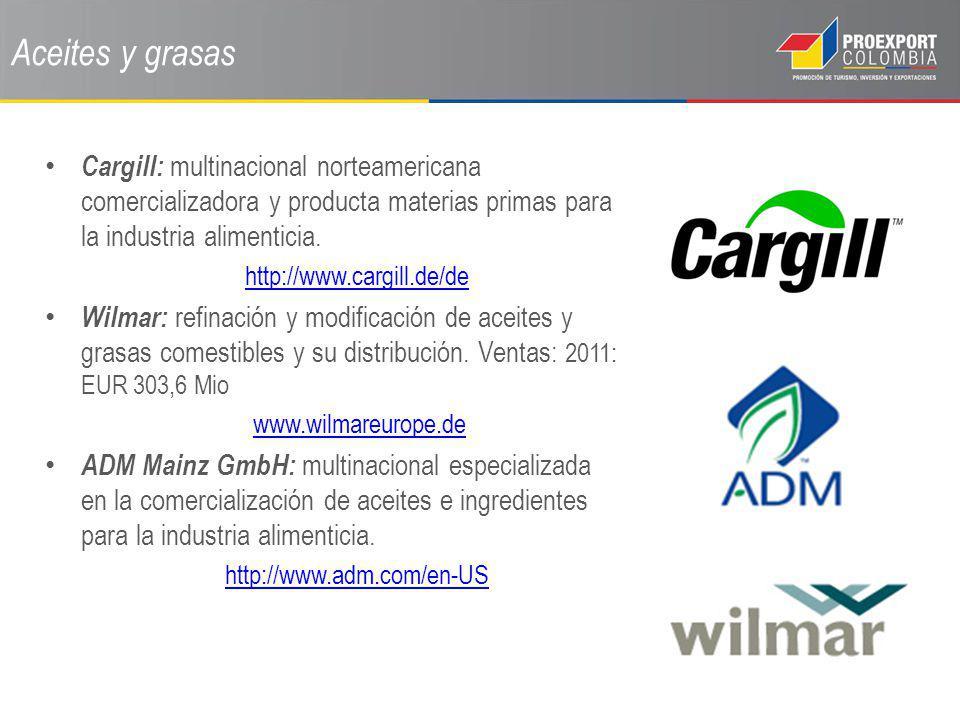 Aceites y grasas Cargill: multinacional norteamericana comercializadora y producta materias primas para la industria alimenticia. http://www.cargill.d