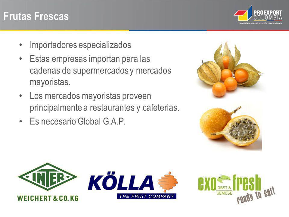Frutas Frescas Importadores especializados Estas empresas importan para las cadenas de supermercados y mercados mayoristas. Los mercados mayoristas pr