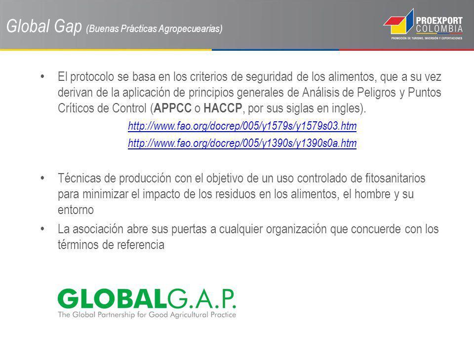 Global Gap (Buenas Prácticas Agropecuearias) El protocolo se basa en los criterios de seguridad de los alimentos, que a su vez derivan de la aplicació