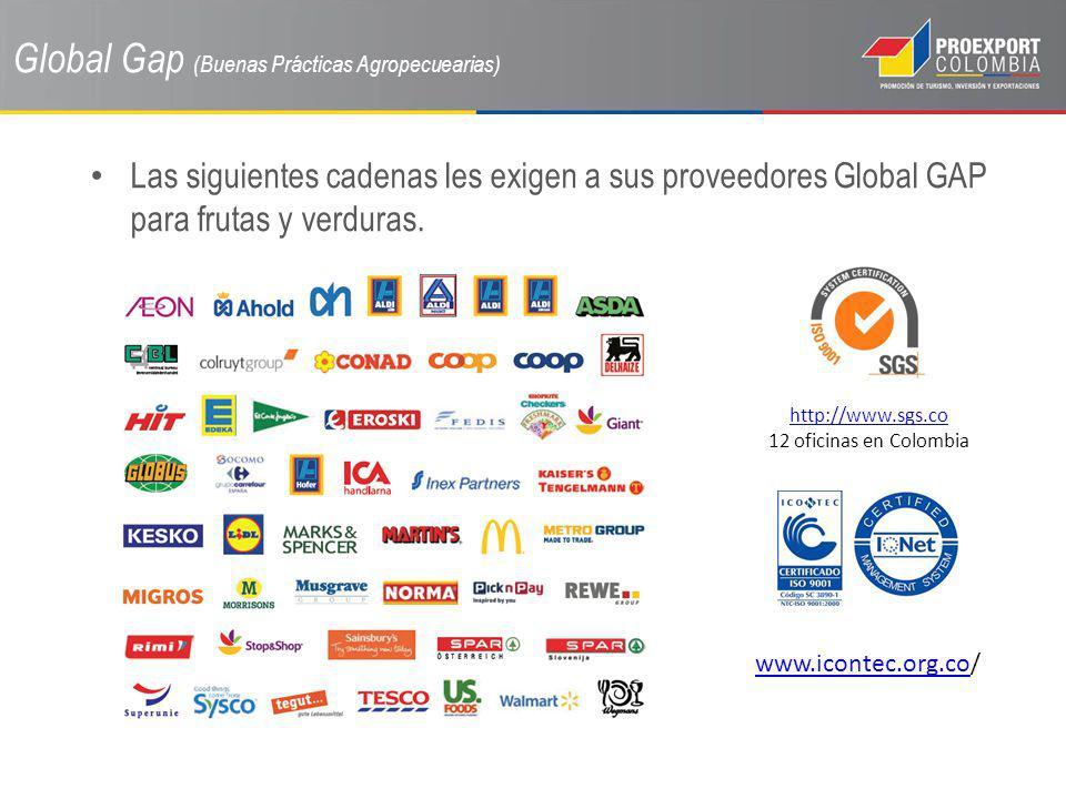 Global Gap (Buenas Prácticas Agropecuearias) Las siguientes cadenas les exigen a sus proveedores Global GAP para frutas y verduras. http://www.sgs.co