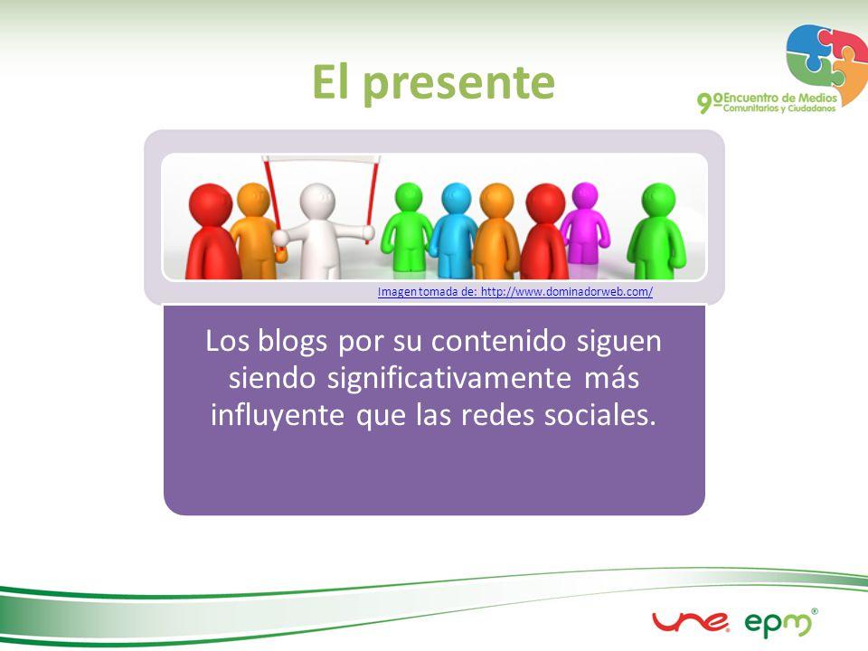 El presente Los blogs por su contenido siguen siendo significativamente más influyente que las redes sociales.