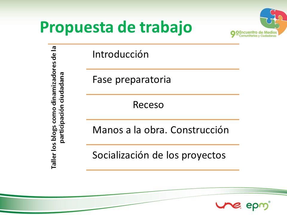 Propuesta de trabajo Taller los blogs como dinamizadores de la participación ciudadana Introducción Fase preparatoria Receso Manos a la obra.