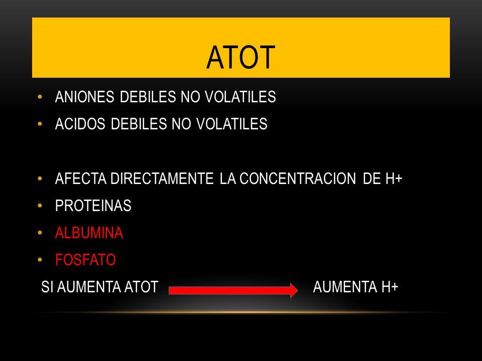 ANIONES DEBILES NO VOLATILES ACIDOS DEBILES NO VOLATILES AFECTA DIRECTAMENTE LA CONCENTRACION DE H+ PROTEINAS ALBUMINA FOSFATO SI AUMENTA ATOT AUMENTA H+ ATOT