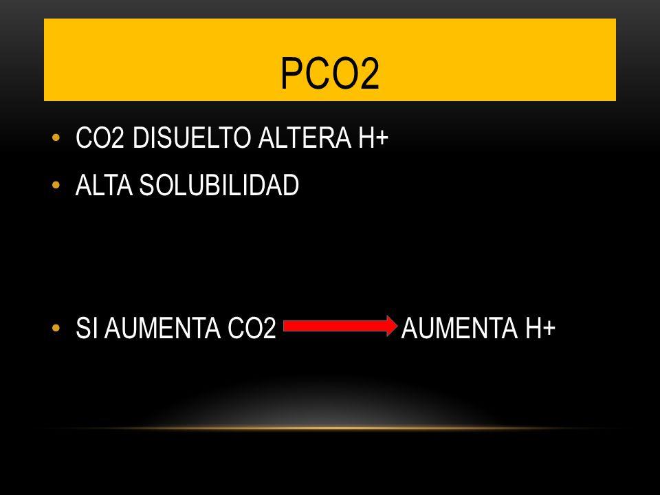 CO2 DISUELTO ALTERA H+ ALTA SOLUBILIDAD SI AUMENTA CO2 AUMENTA H+ PCO2