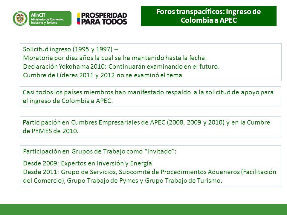 Foros transpacíficos: Ingreso de Colombia a APEC Solicitud ingreso (1995 y 1997) – Moratoria por diez años la cual se ha mantenido hasta la fecha.