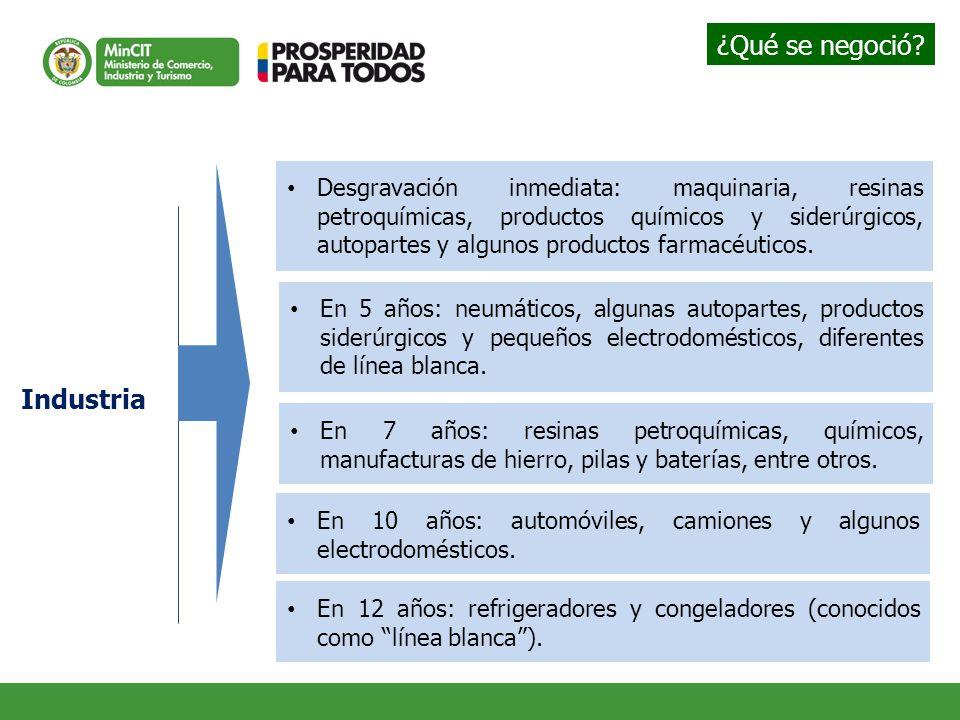Industria Desgravación inmediata: maquinaria, resinas petroquímicas, productos químicos y siderúrgicos, autopartes y algunos productos farmacéuticos.