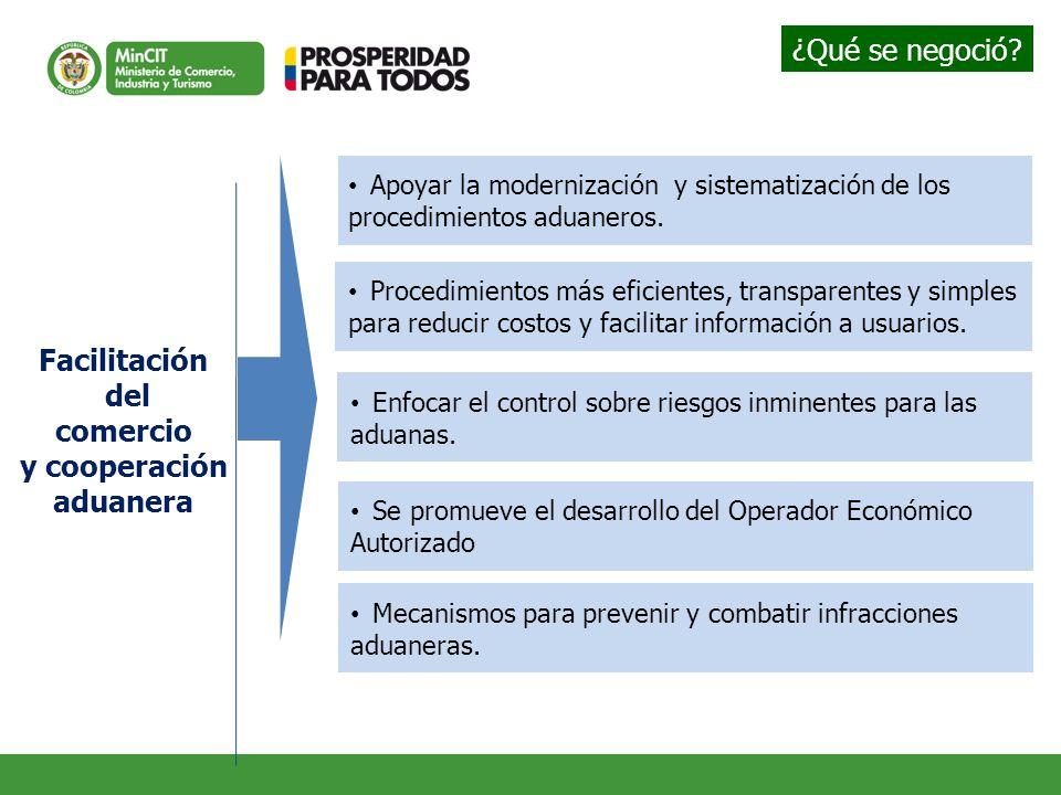 Facilitación del comercio y cooperación aduanera Apoyar la modernización y sistematización de los procedimientos aduaneros. Enfocar el control sobre r