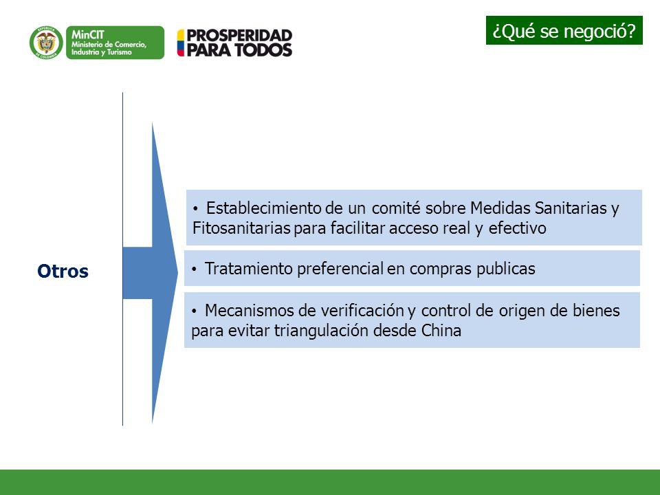 Establecimiento de un comité sobre Medidas Sanitarias y Fitosanitarias para facilitar acceso real y efectivo Tratamiento preferencial en compras publi