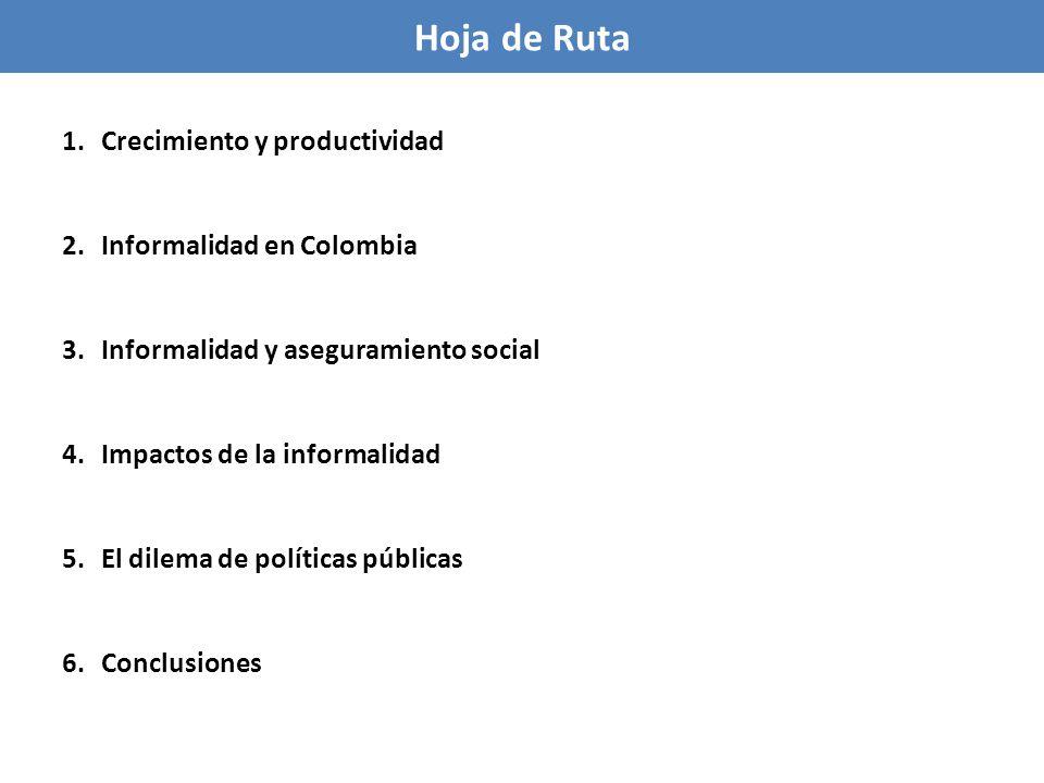 Indicadores de recaudación de IVA (países con ingreso per cápita similar a Colombia, 2010) Tasa general Recaudación (IVA/PIB) Productividad en relación a PIB Consumo/PIB Productividad en relación a Consumo Colombia165.30.330.690.48 Argentina Brasil Chile México Uruguay 21 22 19 16 22 8.1 12.9 8.1 3.8 8.8 0.38 0.59 0.43 0.24 0.40 0.59 0.66 0.59 0.66 0.65 0.64 0.89 0.72 0.36 0.61 Colombia muestra una de las productividades del IVA más bajas entre pares de la región (sólo México registra productividad menor, que tiene una informalidad similar, pero mas exenciones, tasas cero y tasas reducidas) La informalidad reduce la eficacia del sistema tributario Notas: La productividad en relación al PIB mide la recaudación como % del PIB por punto de tasa de IVA.