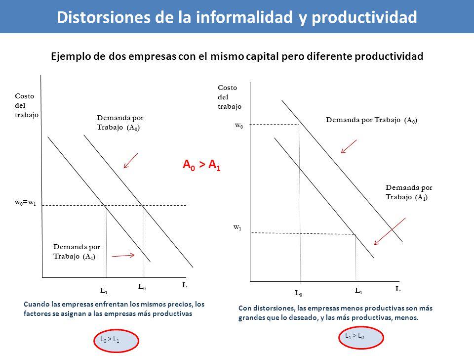 Ejemplo de dos empresas con el mismo capital pero diferente productividad Demanda por Trabajo (A 0 ) w 0 =w 1 L0L0 L Costo del trabajo w 1 L1L1 L L1L1