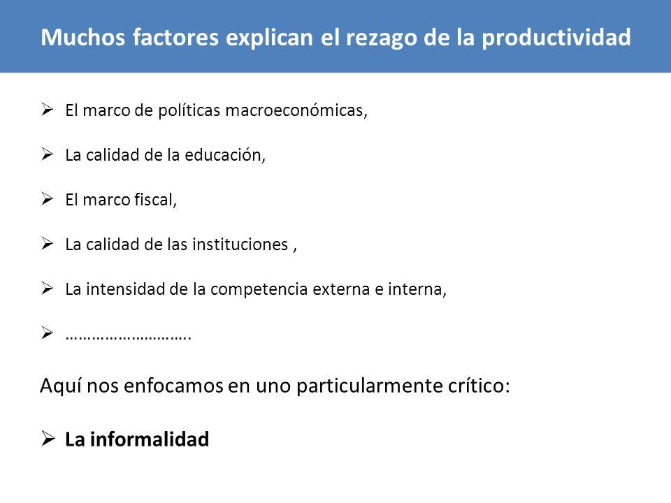 Muchos factores explican el rezago de la productividad El marco de políticas macroeconómicas, La calidad de la educación, El marco fiscal, La calidad