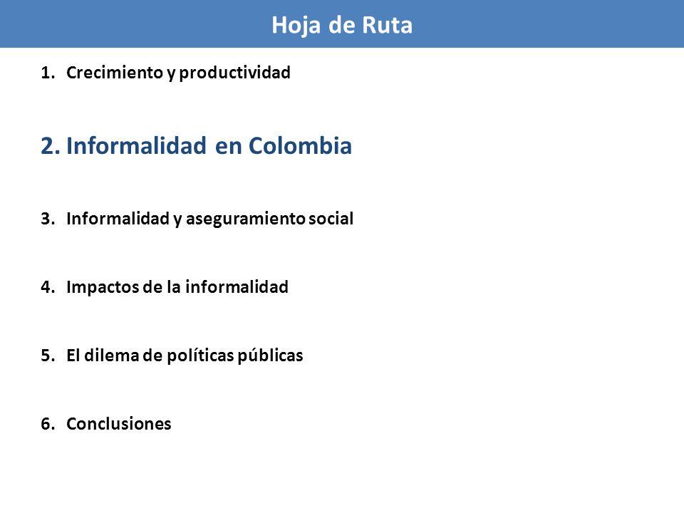 La informalidad laboral en Colombia es muy alta Más de la mitad del empleo en Colombia es informal (aún sin considerar el empleo rural).