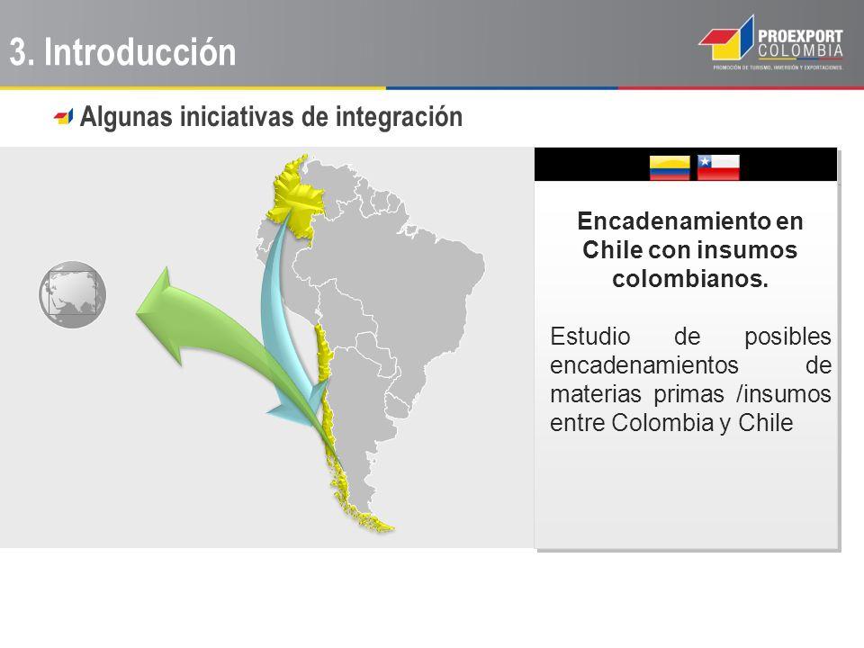 Encadenamiento en Chile con insumos colombianos. Estudio de posibles encadenamientos de materias primas /insumos entre Colombia y Chile 3. Introducció