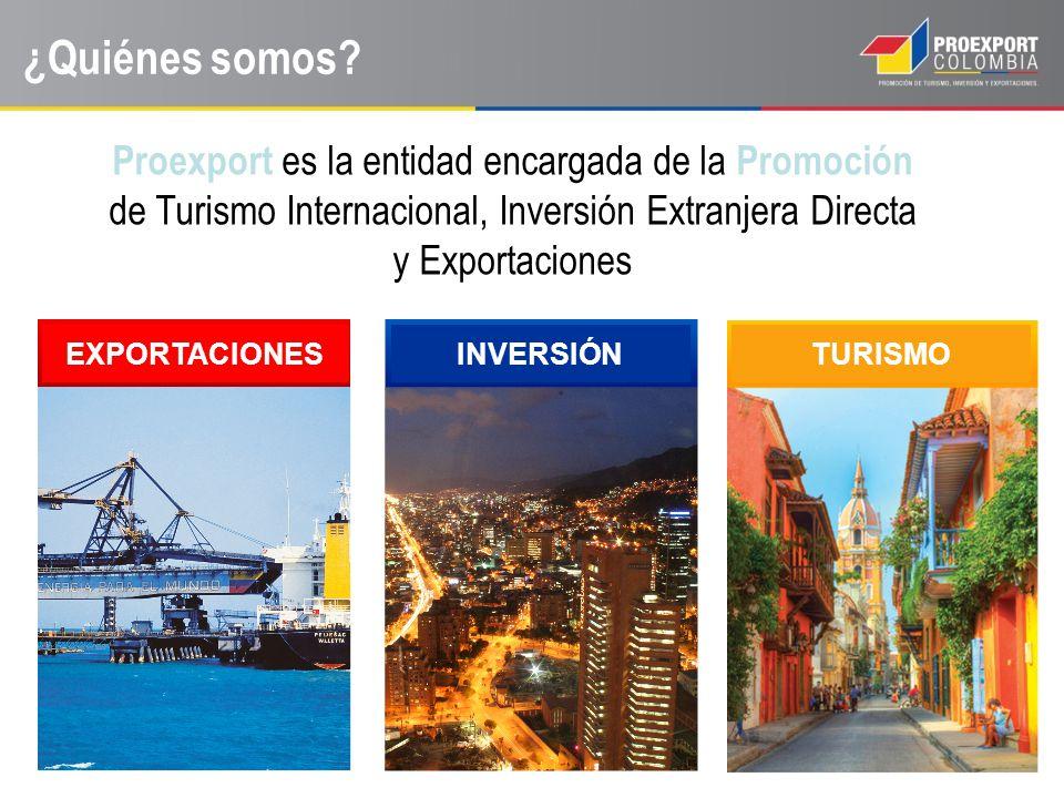 ¿Quiénes somos? Proexport es la entidad encargada de la Promoción de Turismo Internacional, Inversión Extranjera Directa y Exportaciones EXPORTACIONES