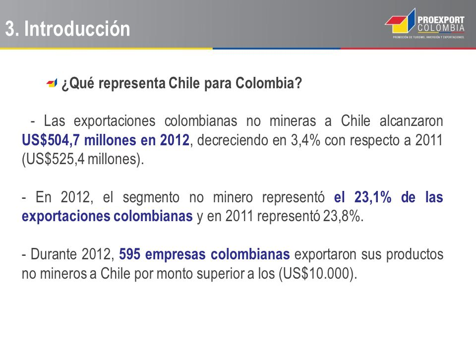¿Qué representa Chile para Colombia? - Las exportaciones colombianas no mineras a Chile alcanzaron US$504,7 millones en 2012, decreciendo en 3,4% con